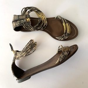 Tory Burch Snakeskin Ankle Strap Sandals